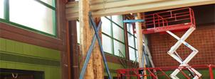 Erwin-Amman-Halle in Karlstadt, Sanierung von am Auflager stark geschädigten Holzbindern